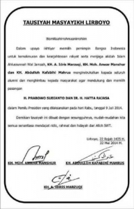 Lirboyo Deklarasi Dukung Capres Prabowo